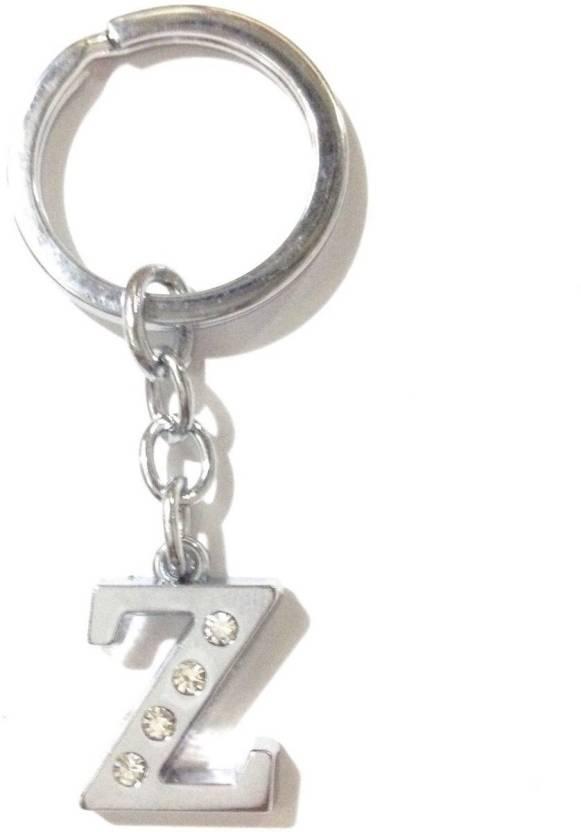 GCT Alphabet Letter Z Silver Metal Design-KC43 Keyring for Men Women