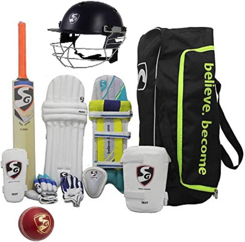 fb8ea7ed5 SG Multicolor Economy Cricket Set Full Size (Senior) With Helmet and  leather Cricket Ball Cricket Kit (Bat Size  Short Handle(Age Group 15+  Years))