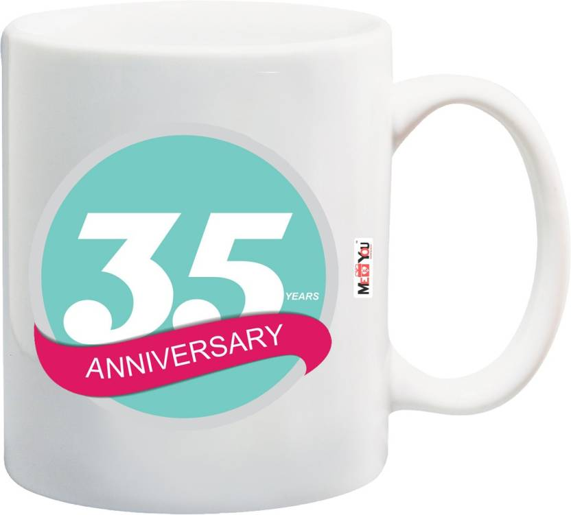 ME&YOU Gift For 35th Anniversary, 35th Anniversary Gifts for Father, Mother, Husband, Wife, Brother, Sister Printed IZ18SRMU-2624 Ceramic Mug (325 ml)