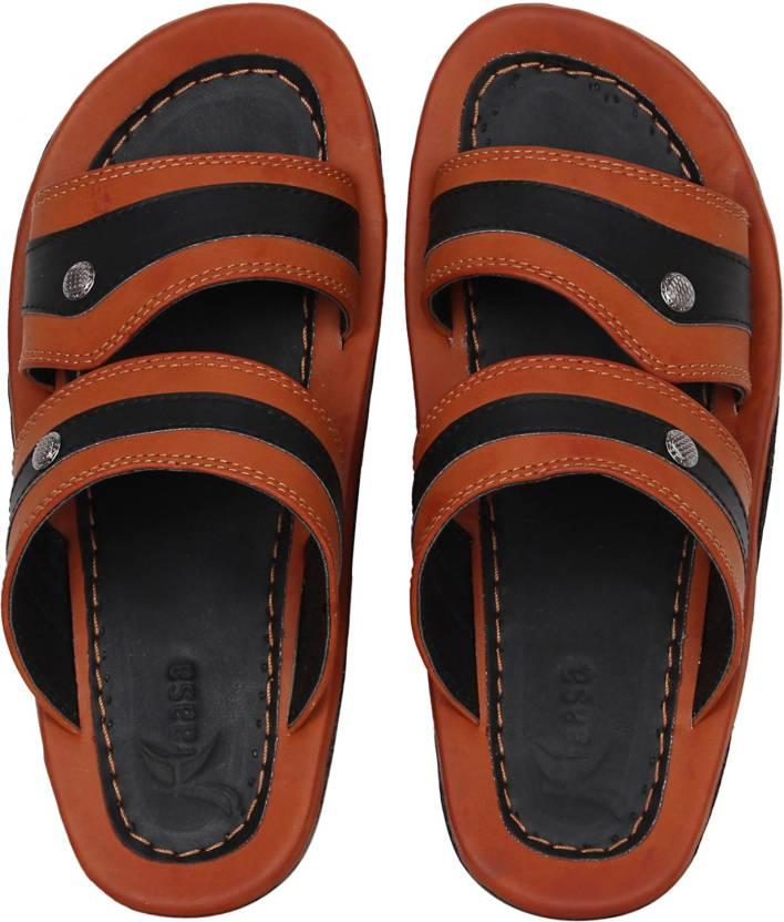 3dda20a7be2c Kraasa Men Black  Tan Sandals - Buy Kraasa Men Black  Tan Sandals Online at Best  Price - Shop Online for Footwears in India