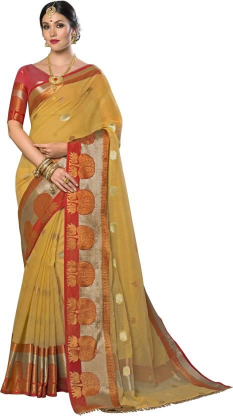 e1d1af51ab Buy Taanshi Self Design Kanjivaram Cotton Silk Yellow, Red Sarees ...