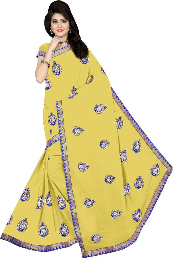 6bb3b5b5d8 Buy Winza Designer Embroidered Bollywood Georgette Yellow Sarees ...