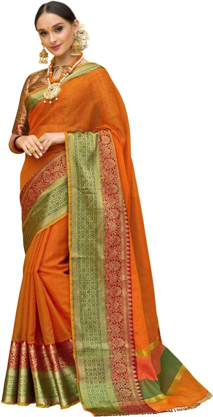 4086cf2774 Buy Taanshi Self Design Kanjivaram Cotton Silk Multicolor Sarees ...