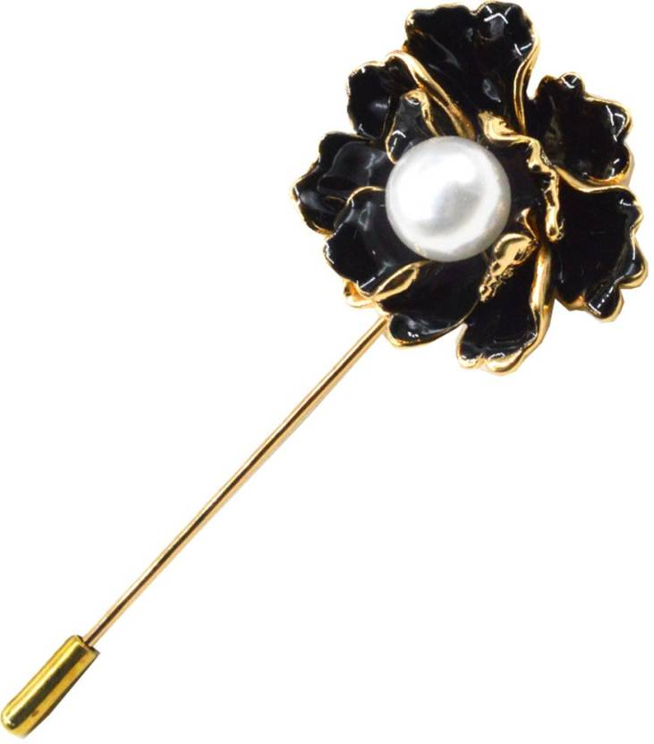 aee286b9c Sullery Men Women Fashion Handmade Beads Lapel Pin Mini Rose Flower Stick  Boutonniere Pin Brooch for Suit Brooch (Gold, Black, White)