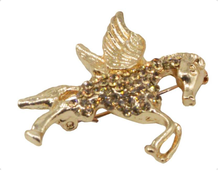 981528ae38836 Sullery Men Women Fashion Gold Rhinestone Gold Plated Flying Horse Pegasus  Pin Brooch (Gold)
