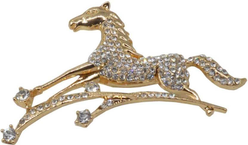abfd8c34d9b47 Sullery Men Women Fashion Crystal Rhinestone Running Horse Pony Race Custom  Jewelry Pin Brooch Brooch (Gold)