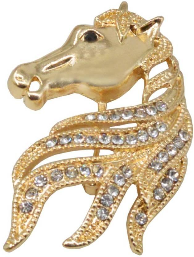 33e12615eb6e0 Sullery Men Women Fashion Vintage Silver Rhinestone Horse Head Pin Brooch  (Gold)