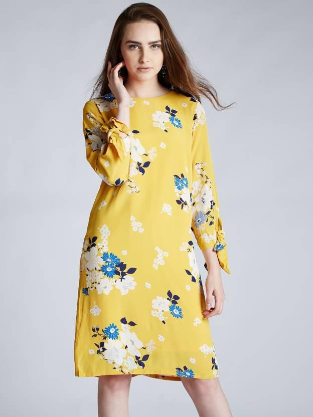 62b621c49cff Harpa Women s Shift Yellow Dress - Buy Harpa Women s Shift Yellow Dress  Online at Best Prices in India