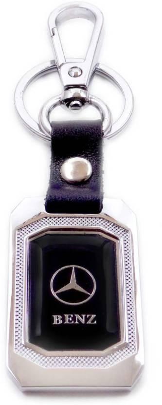 97707eb4ece7d7 GCT Mercedes Benz Logo Black & Silver Metal Locking Keyring for Men Women  Boys Girls Car