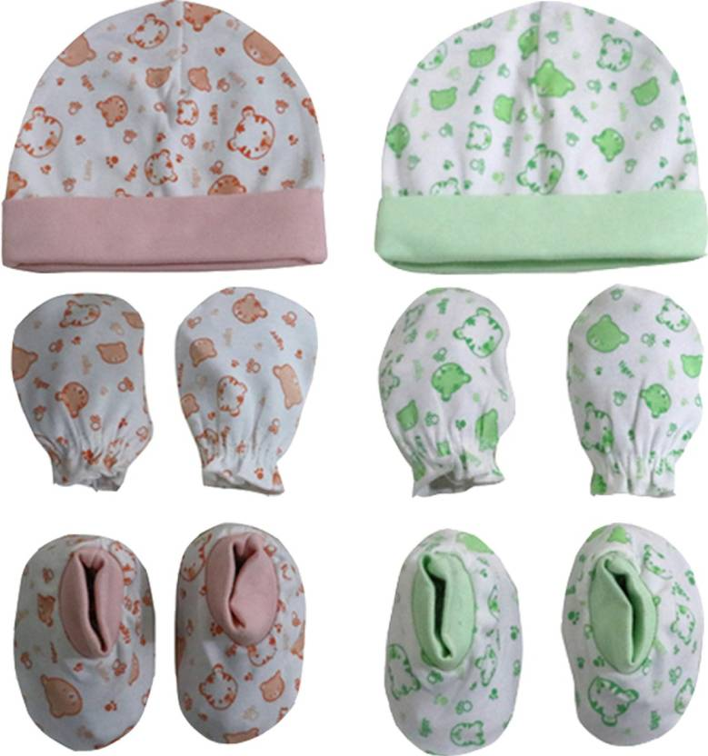 ed582fd7ab3 ANNAPURNA SALES 100% Pure Soft Cotton New Born Baby Booties Mittens Cap  Combo Pack of 4 Pair   2 Pc - ( 0-6 Months ) !! Premium Quality !! (Peach