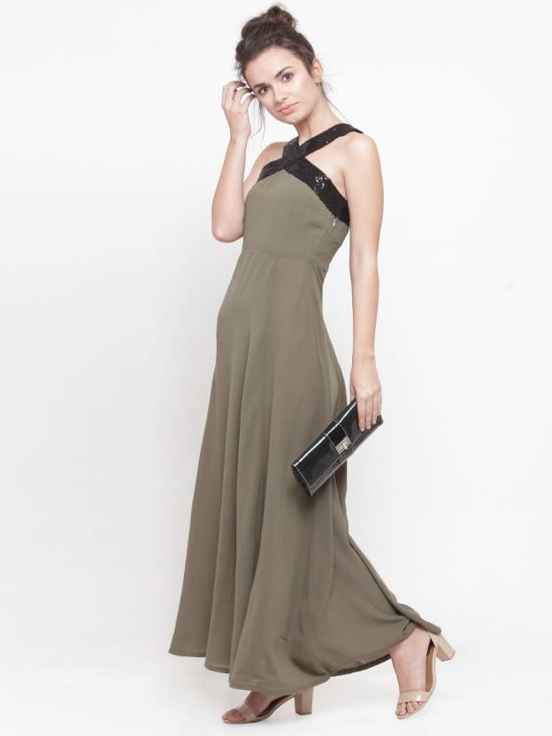 34cf522f1b Pluss Women Maxi Green Dress - Buy Pluss Women Maxi Green Dress Online at Best  Prices in India