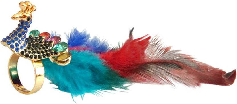 93aea4436662 Rich & Famous women Jewellery Peacock Feather Design Brass Ring