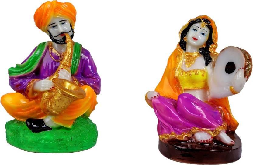 Mantra Art Gallery Marble Base Polyresin Rajasthani Showpiece