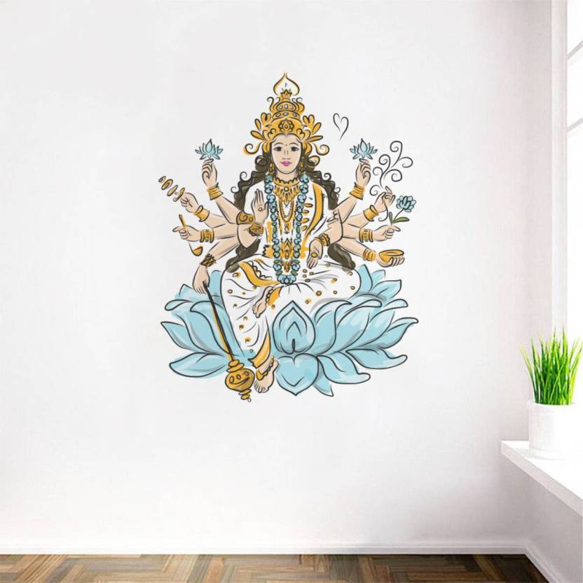 rawpockets decals ' goddess lakshmi ' large size wall sticker ( wall