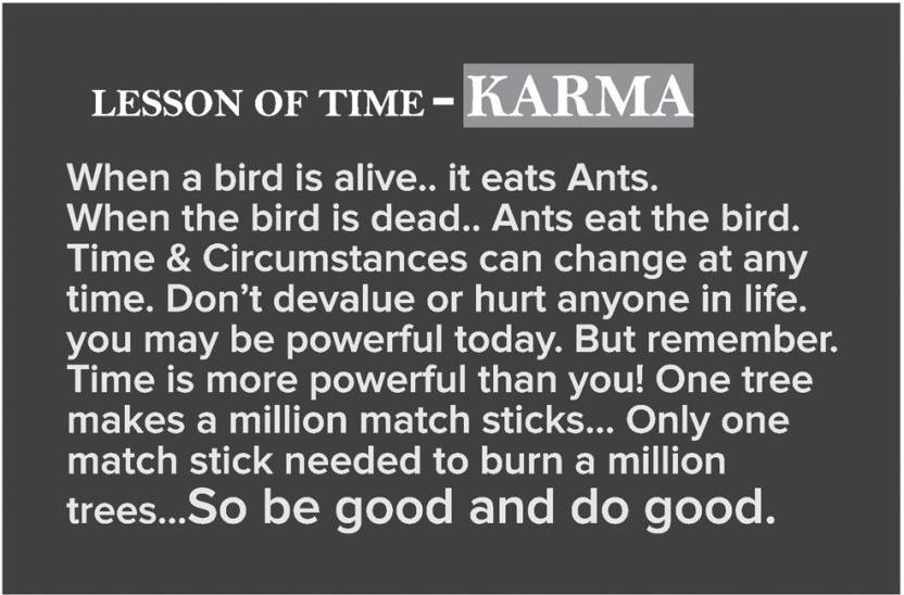 Karma Quote Poster Inspirational Posters For Room Paper Print