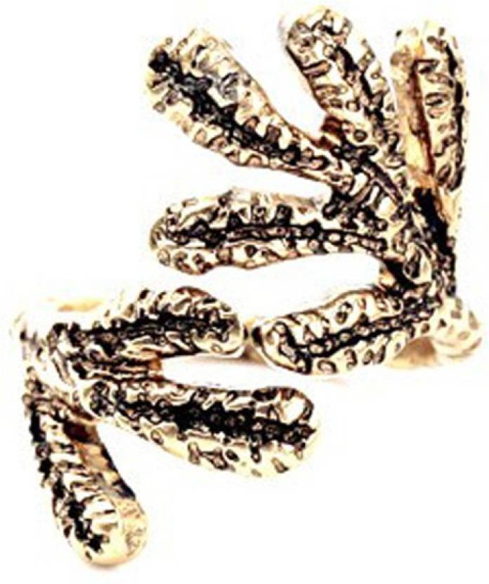The Cats Pajama Gecko Antique Gold Ring Alloy Gold-plated