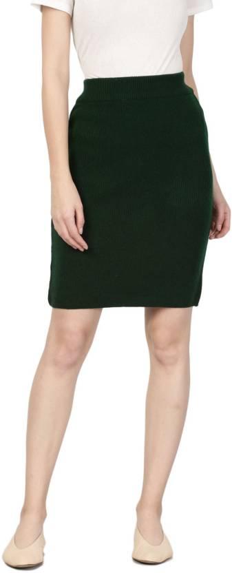 b5a4e1a85fbc ether Solid Women Pencil Green Skirt - Buy ether Solid Women Pencil ...