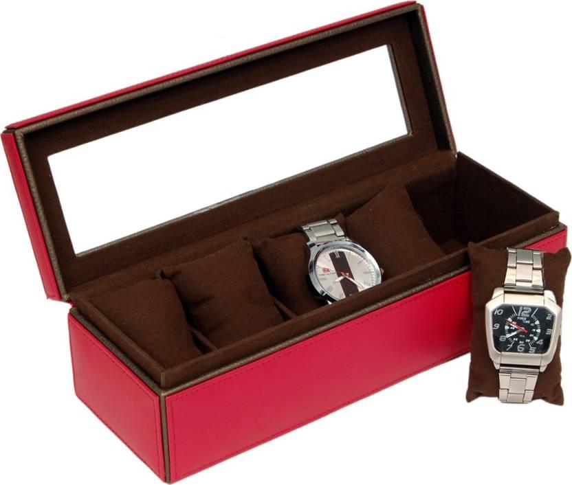 ba6db0a4aaa Borse Red Wrist Watch Storage Box Watch Box Price in India - Buy ...