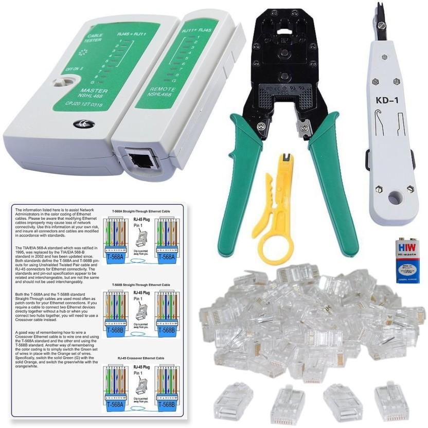 Lan Cable Cross Crimping: Inditrust Rj45 Crimping Tool 9W battery KD-1 Punch Down Tool Lan rh:flipkart.com,Design