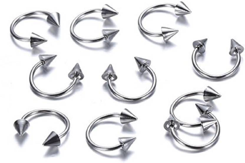 Gadgetsden Iconik 16g 12mm Silver Horseshoe Circular Piercing Arrow Eyebrow Septum Belly Lip Nose