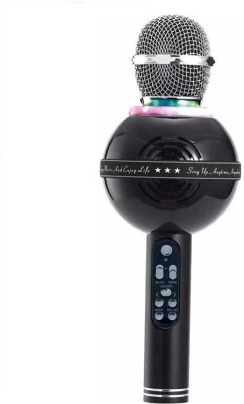 Piqancy Wireless Bluetooth WS-878 Karaoke Microphone MIC For Singing  Recording Condenser Handheld Microphone Portable Speaker with Party Lights