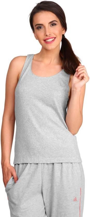 fb6a3d4f07b71a Jockey Casual Sleeveless Solid Women s Grey Top - Buy Grey Jockey ...