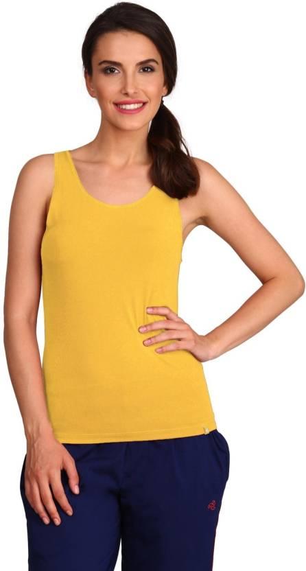 fabc8461431a99 Jockey Casual Sleeveless Solid Women s Yellow Top - Buy Banana cream Jockey Casual  Sleeveless Solid Women s Yellow Top Online at Best Prices in India ...