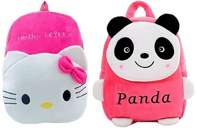 16c4fd086 Pandora Hello Kitty and Pink Panda Velvet Kids School Bag - 2 to 5 Age -  Pack of 2 Waterproof School Bag (Pink, 10 L)
