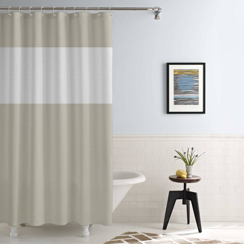 StoryHome 172 Cm 6 Ft PVC Shower Curtain Single Plain Mud Brown