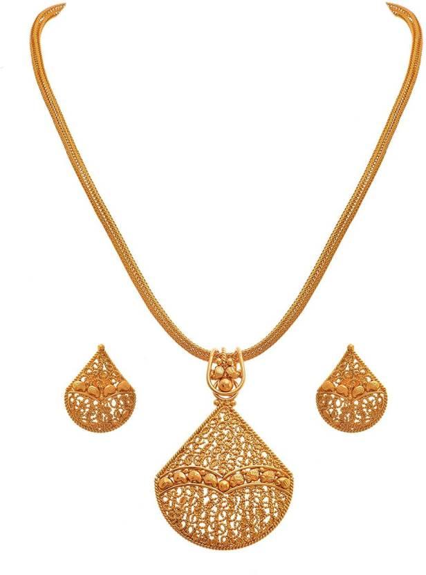Jfl Jewellery For Less Traditional Ethnic One Gram Gold Plated Designer Pendant Set