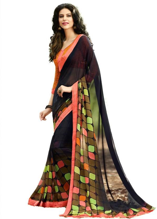 b841f8c5666c92 Buy Maruti Creation Printed Daily Wear Georgette Black Sarees Online ...