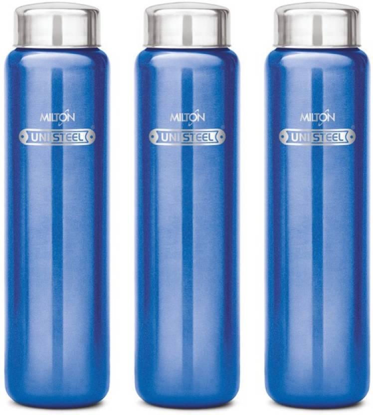 Milton Aqua Stainless Steel Fridge Water Bottle 930 Ml Set Of 3 Blue