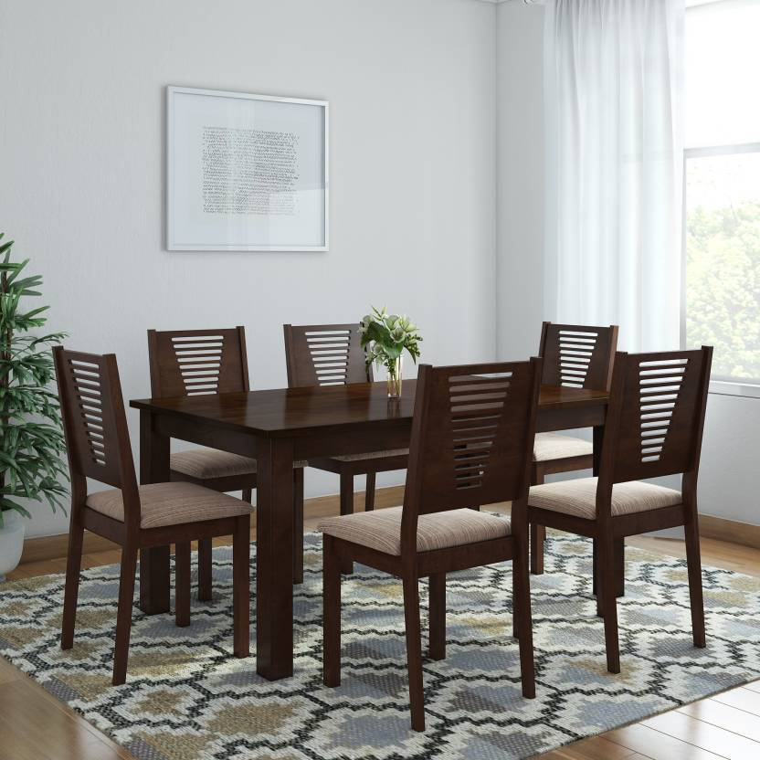 Woodness Vivian Solid Wood 6 Seater Dining Set Finish Color Wenge