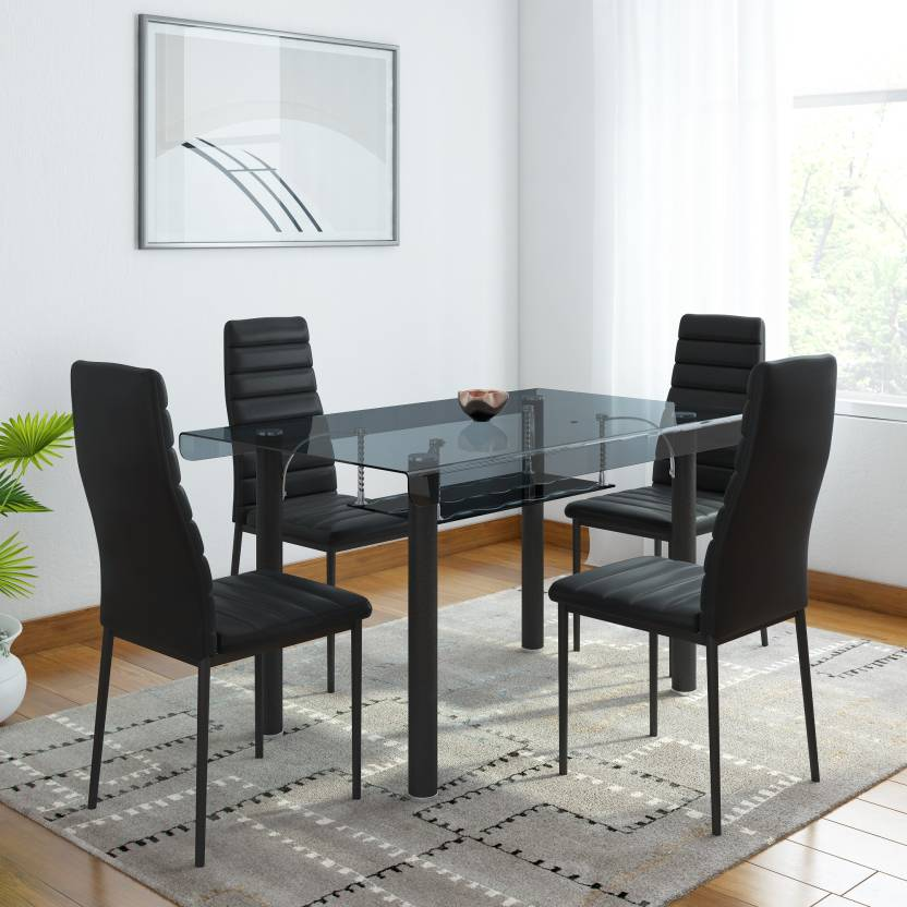 Woodness Milan Gl 4 Seater Dining Set Finish Color Black
