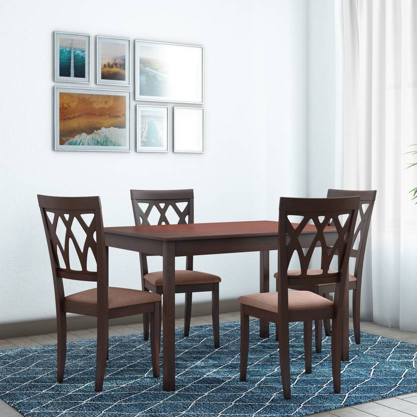 @home by Nilkamal PEAK Solid Wood 4 Seater Dining Set Finish Color   Cappuccino