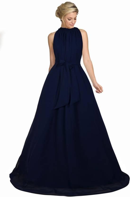 1b896621a99 Viha Women s Gown Dark Blue Dress - Buy Viha Women s Gown Dark Blue Dress  Online at Best Prices in India