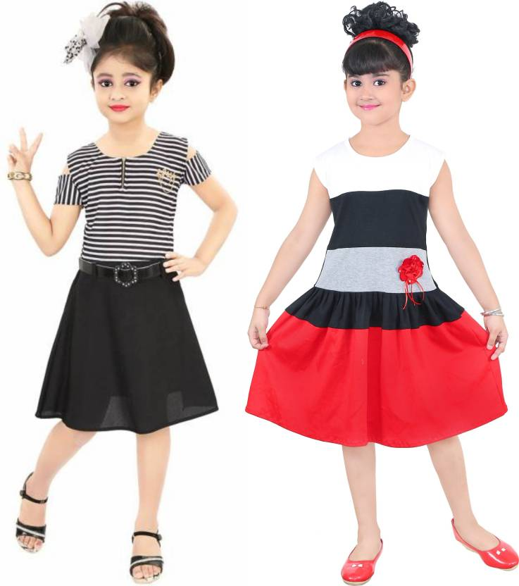 c4d142b54d8 FTC FASHIONS Girls Midi/Knee Length Party Dress (Multicolor, Cap Sleeve)