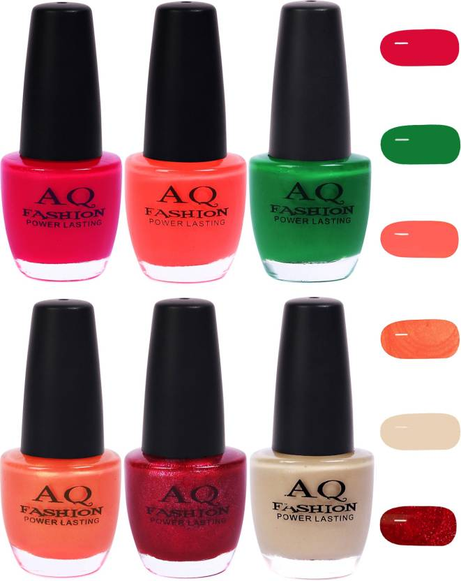 AQ Fashion Funky Vibrant Range of Colors Nail polish Bright  Magenta,Orange,Bottle Green,Shimmer Orange,Deep Magenta,Pearl