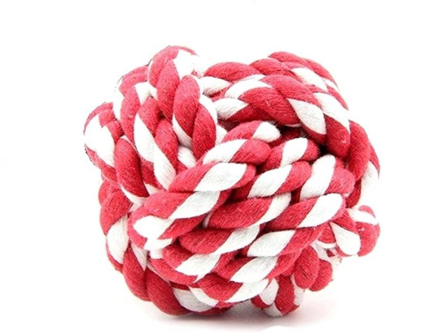 Sri High Quality Puppy Cat Dog Cotton Rope Braided Ball Play Fetch Toy Red White