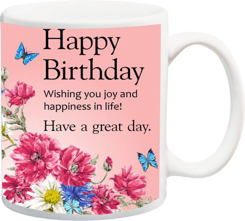 MEYOU Gifts On Happy Birthday For Brother Sister Nephew Husband Wife Friends IZ17 VK MU 01356 Wishing You Joy And Happiness In Life Printed Ceramic Mug