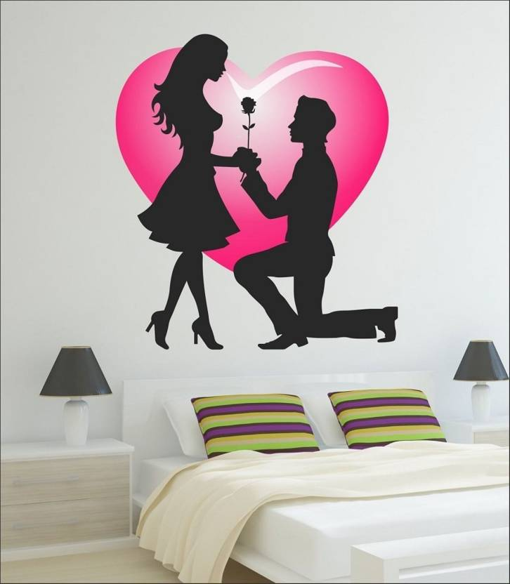 fantaboy cute couple wall decal/sticker (60cm x 90cm) price in india