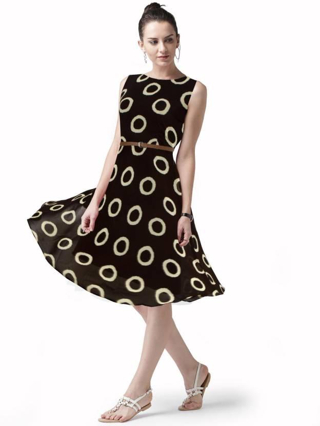 cba07033aa Navya Women s Skater Brown Dress - Buy Navya Women s Skater Brown Dress  Online at Best Prices in India
