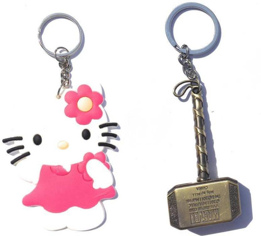 fcbfa7fd6 PRiQ Hello Kitty Rubber Keychain and Thor Hammer pure metal Keyring & Keychain  Key Chain Price in India - Buy PRiQ Hello Kitty Rubber Keychain and Thor ...