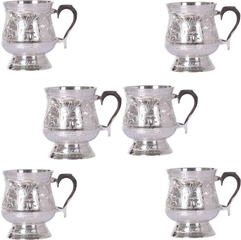 Shivshakti Arts Handmade Pure Brass Silver Plated Cup mug