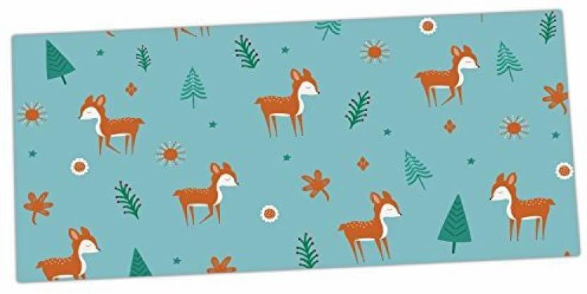 Kess Inhouse Cristina Bianco Design Cute Deer Pattern Teal Kids Desk Mat 13 X 26