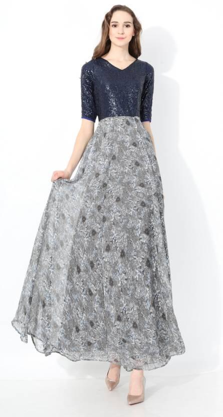 ea65a1746c35 shaper Women s Maxi Grey Dress - Buy shaper Women s Maxi Grey Dress Online  at Best Prices in India
