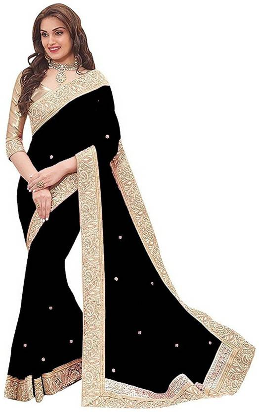 6e4ed57db9d60 Buy uniqueenterprise Solid Bollywood Georgette Black Sarees Online ...