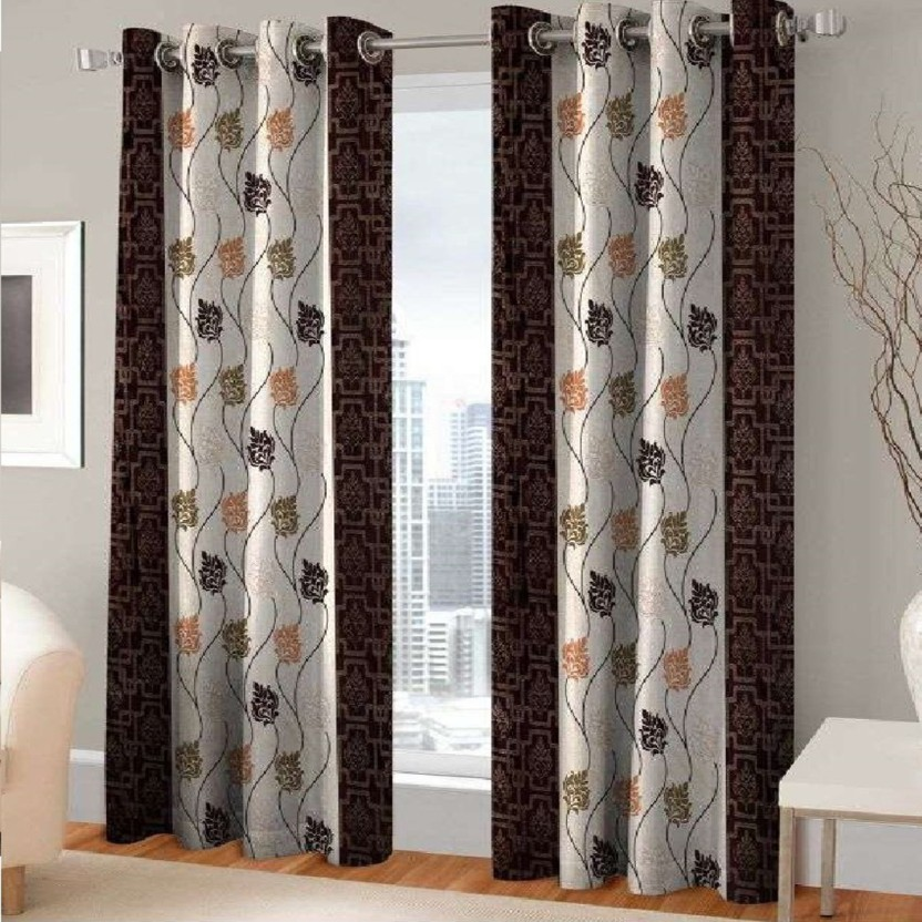 Attrayant India Furnish 274 Cm (9 Ft) Polyester Long Door Curtain (Pack Of 2)  (Floral, Brown)