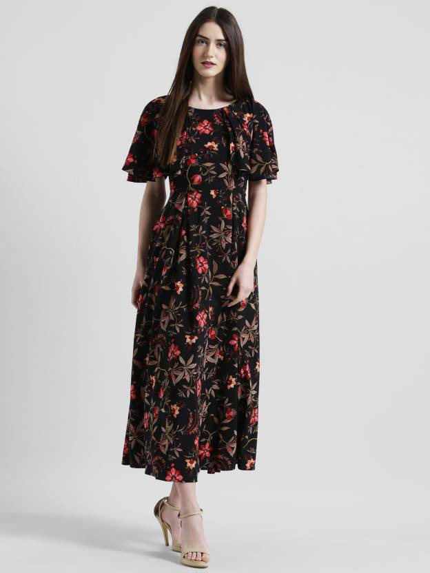 a6b056f686b Zink London Women s Maxi Black Dress - Buy Zink London Women s Maxi Black  Dress Online at Best Prices in India