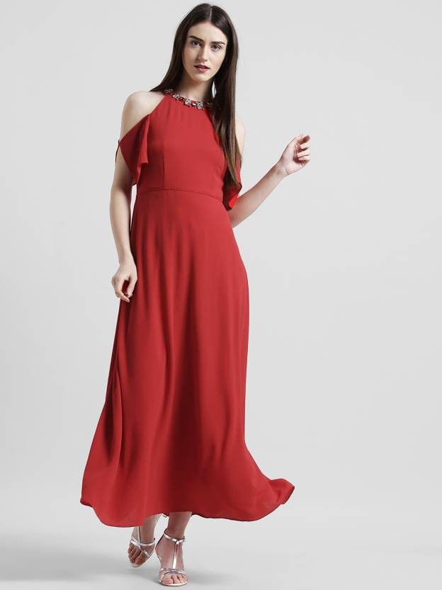ad566c2983b Zink London Women s Maxi Red Dress - Buy Zink London Women s Maxi Red Dress  Online at Best Prices in India